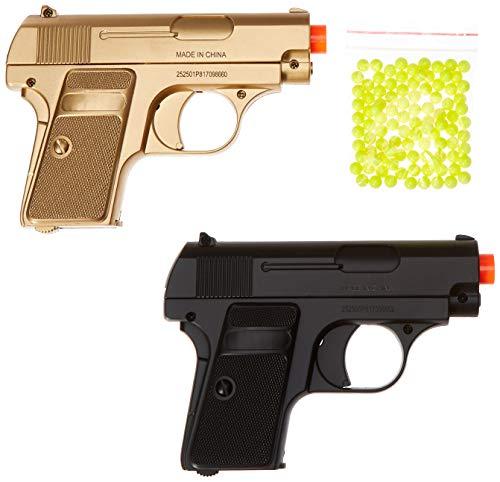 BBTac Airsoft Spy Handgun - Twin Pack Pocket Pistol Gun with Storage Case Gold Black
