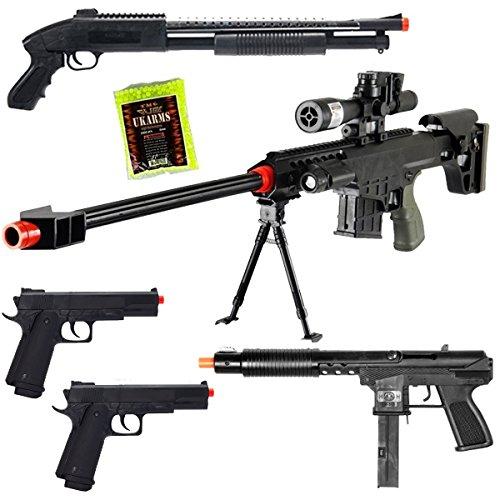 Dark Ops Airsoft Lot of 5 Airsoft Guns Sniper Rifle Shotgun Machine Pistols 1000 6mm BB