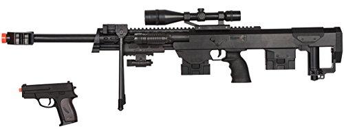 UKARMS 50 Cal Sniper Spring Airsoft Rifle Pistol Combo Gun Set FPS 260