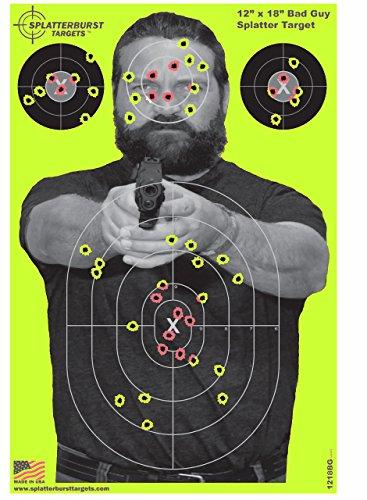 Splatterburst Targets - 12 x18 inch - Bad Guy Reactive Shooting Target - Shots Burst Bright Fluorescent Yellow Upon Impact - Gun - Rifle - Pistol - AirSoft - BB Gun - Air Rifle 10 pack