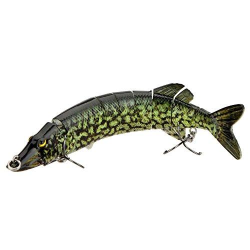 Anself 8  20cm 66g Lifelike Multi-jointed 8-segement Pike Muskie Fishing Lure Swimbait Crankbait Hard Bait Fish Treble Hook Tackle