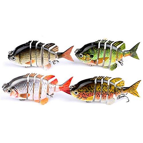 Isafish Swimbait Bionic Multi Jointed 6-Segement Pike Muskie Fishing Lure Swimbaits For Bass Crankbait with Hooks Minnow Hard Bait 315 Inch 05 Ounce