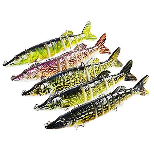 Isafish Swimbait Bionic Multi Jointed 8-Segement Pike Muskie Fishing Lure Swimbaits For Bass Crankbait with Hooks Minnow Hard Bait 472 Inch 07 Ounce