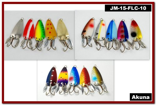 Akuna Pack of 15 Willy Blade 3 inch Casting Spoon Fishing Lure with 2 Side Spoons