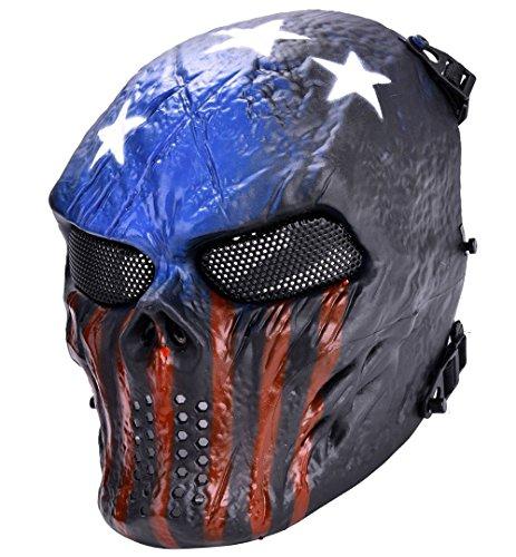Airsoft Mask XCYT Tactical Full Face Skull Mask Mesh Eye Protection Mask Dark Blue
