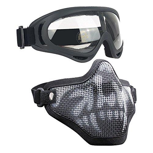 Airsoft Masks- Adjustable Half Metal Steel Mesh Face Mask And UV400 Goggles Set For Hunting Paintball Shooting Black Skull 1 Set