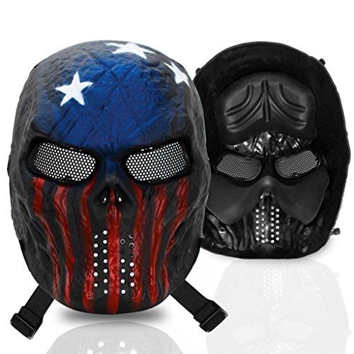 Stargoods Skeleton AirSoft Tactical Mask - Metal Mesh Paintball BB Gun CS Games - America