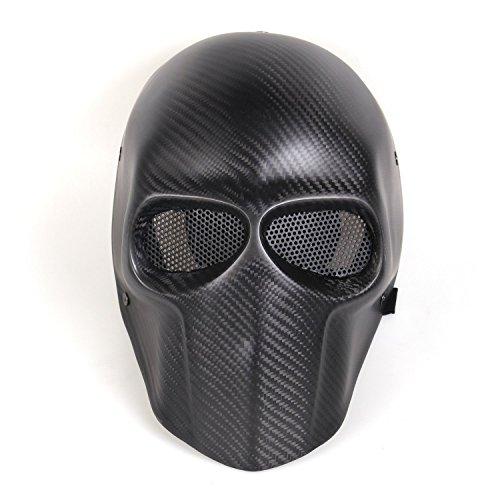 Suncer Carbon Fiber Airsoft Mask - BB Gun  Hunting  CS War Game - Tactical Full Face Skull Mask