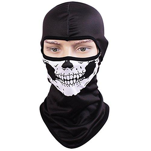 TClian Skull Mask Balaclava Rib Fabrics Skeleton Ghost Headwear Bandana Motorcycle Cycling Ski Full Face Masks Military Tactical Airsoft Paintball Masks Cosplay Costume Halloween Face Mask Skull-01
