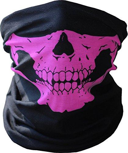 TOPFAST Skull Mask Bandana Headwear Scary Dust-Proof Windproof Motorcycle Half Face MaskPink