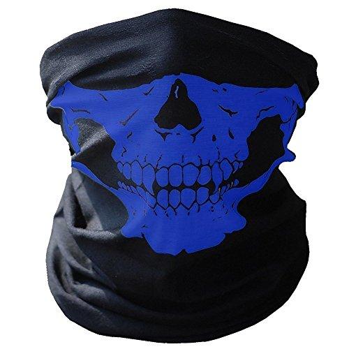 TOPFAST Skull Mask Bandana Headwear Scary Dust-Proof Windproof Motorcycle Half Face Maskblue