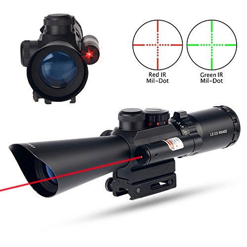 Tactical 35-10X40 illuminated RedGreen Mil Dot Rifle Scope W Red L Sight Fit 1120mm Picatinny Rail