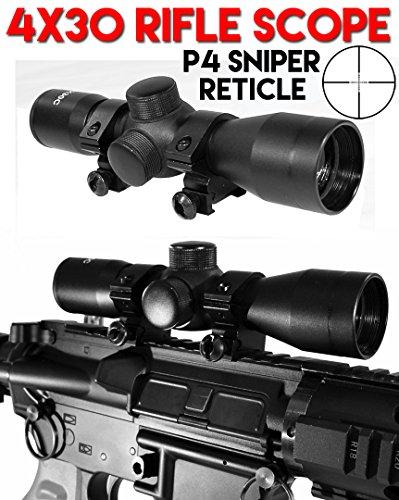 Trinity 4x30 Rifle Scope P4 Sniper Reticle for Tippmann 98 Custom Paintball Gun Black Paintball Gun Scope Paintball Gun Sight Black Tippmann Paintball Gun Scope Black