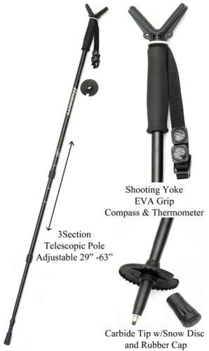 Hammers Shooting StickMonopod Gun Pod Shooting StickMonopod Lightweight Alloy Black