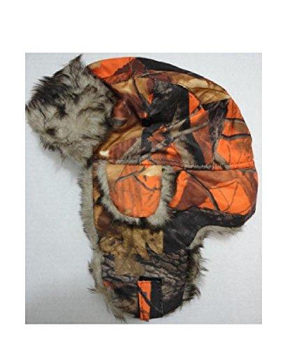 Hunter Orange Camo Hunting Trapper Faux Fur Hat w Ear Flaps Oak Tree