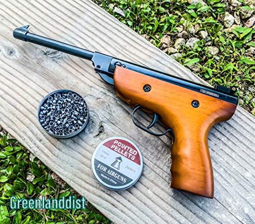 Isaazon 55mm 22 Caliber Pistol Air Pellet Gun 75 Joule Energy Real Wood with Pack of 250 Pellets