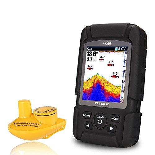 Lixada Wireless Portable Fish Finder 45M145 Feet Depth Waterproof Sonar Ocean River Lake Fish Detector