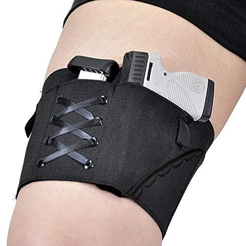 Asodomo Concealed Carry Gun Leg Holster Universal Gun Leg Holster for Women Thigh Holster Adjustable Ladies Black Pistol Holster