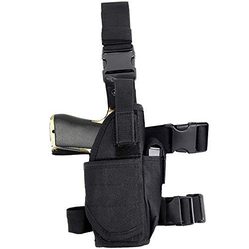 EnriQ Drop Leg Holster Tactical Thigh Airsoft HolsterFirearm HolsterHandgun Holder with Mag Pouch Adjustable Pistol Holster Leg Gun Holster for All 1911 Glock 17192021232627 More Black