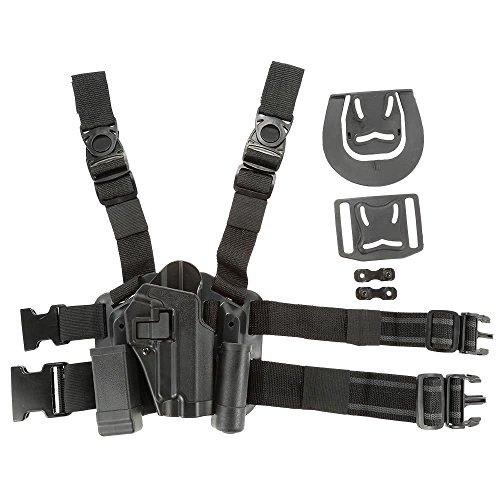 Fantasia Tactical Level 2 Lock Drop Leg Right Thigh Belt Drop Duty Pistol Gun Holster with Magazine Torch Pouch for SIG SAUER P226 P229