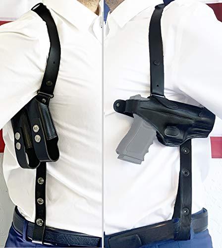 Aysesa Rig for Glock 19 Leather Shoulder Holster for Pistols 9mm 40 45 Concealed Carry Gun Fits Glock G19 23 26 32 43 Sig Sauer p238 S&W 457 Jet Black