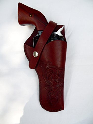 Western Gun Holster 61 - Brown - Solid Leather with Embossed Design - for Revolvers up to 5 Barrel