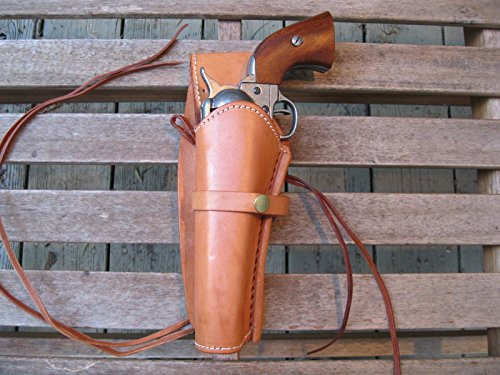 Western Gun Holster - Natural Color - Left Handed - for 22 Caliber single action revolver - Size 6 - Smooth Leather