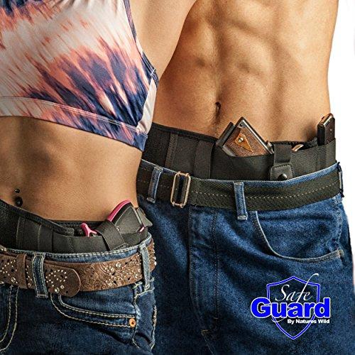 Safeguard Concealed Carry Pistol Holster - Comfortable neoprene belly band holster for men and women - Black CCW Gun Belt
