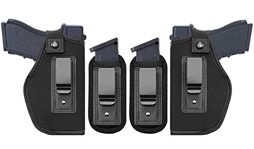 TACwolf 4PC Universal Right and Left IWB Holster Magazine Pouch for Concealed Carry Inside Fits Firearms Glock 19 17 26 27 43 S&W M&P Shield 940 1911 Taurus PT111 G2 Sig Sauer Ruger