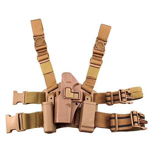 JINJULI Tactical Left Hand Drop Leg Thigh Belt Holster Pouches for Glock Series Carry