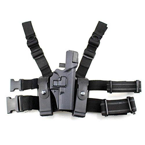 quanlei Tactical Leg Holster Right Hand Paddle Thigh Belt Level 3 Lock Duty Pistol Gun Holster wMagazine Torch Pouch