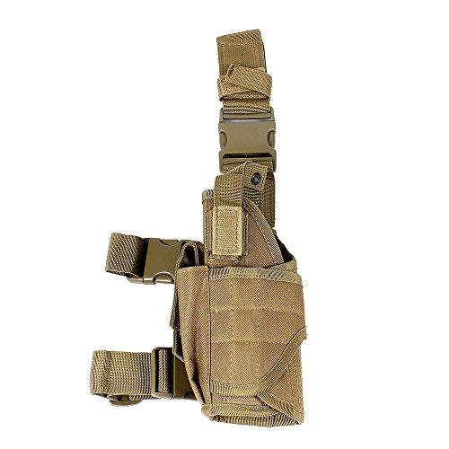 Universal Tactical Pistol Pouch Gun Drop Leg Holster w Mag Pouch Left Handed Tan