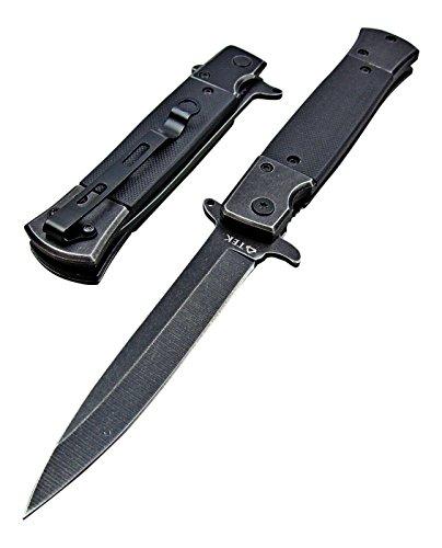TEK Black G10 Spring Assisted Opening Folding Drop Point Blade Pocket Knife - Lightning Fast Deployment - Razor Sharp Blade - Sure Grip G10 Handles - Tactical Edge Knives