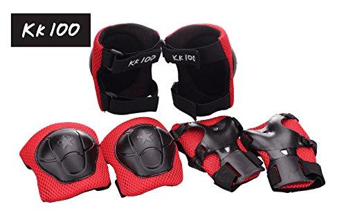 KK 100 Kids Roller Blading Wrist Elbow Knee Pads Blades Guard 6 PCS Red black Set