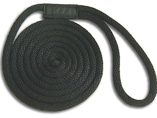 58 x 15 Black Solid Braid Nylon Dock Line - Made in USA