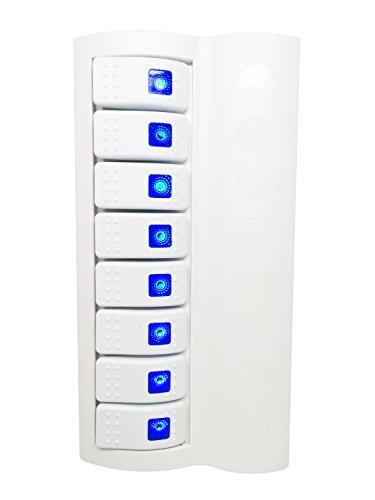 Pactrade Marine Boat Switch Panel 8 Gang Blue LED Indicator Rocker Circuit Breaker White