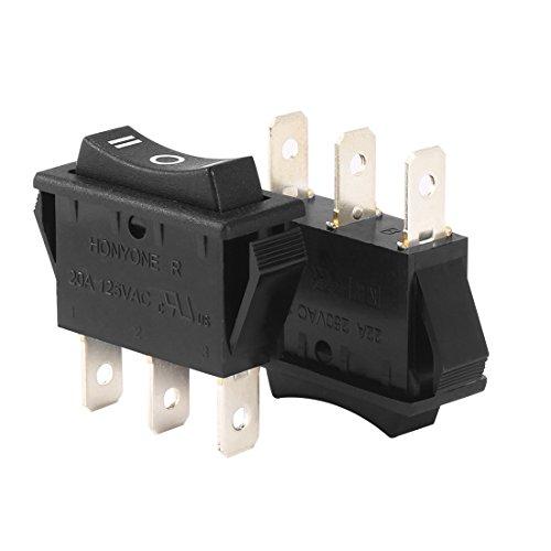 uxcell SPDT 3P OnOffOn 3 Position Boat Rocker Switch Black AC 20A125V 22A250V