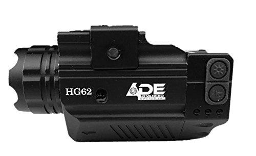 Ade Advanced Optics HG62 Crusader Series Compact Green Laser with 300 lm Strobe Flashlight Sight Black