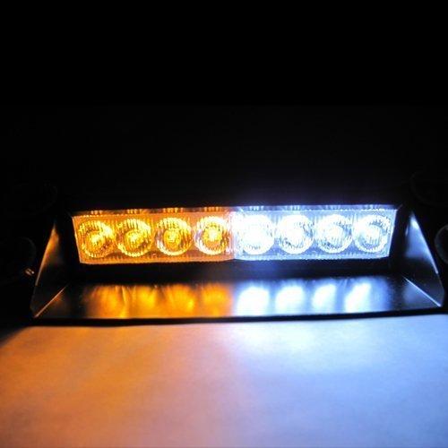 Resulzon White  Amber Warning Caution Van Truck 8-LED Emergency Strobe Light