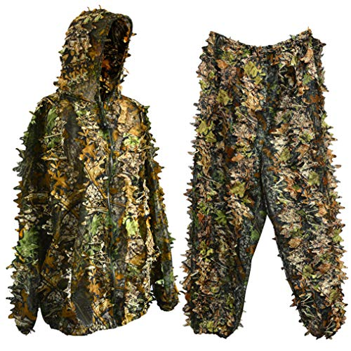 Bantoye Ghillie Hunting Suit Breathable Camouflage Lightweight Clothing Suits Cosplay Woodland Clothing for Halloween Cosplay Jungle HuntingShooting Airsoft