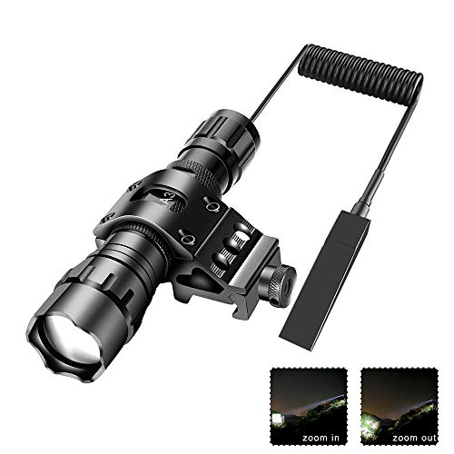 Tactical Flashlight 1200Lumens Zoomable Super Bright LED Hunting Light Waterproof with Rechargeable Battery Pressure Switch Picatinny Offset Mount for Shooting Camping Outdoors