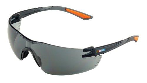 Encon Nascar 442 Wraparound High Performance Safety Eyewear with Orange Tip Gray Lens Gray Frame