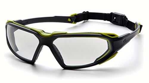 Pyramex Highlander Safety Eyewear Black-Lime FrameClear Anti-Fog Lens