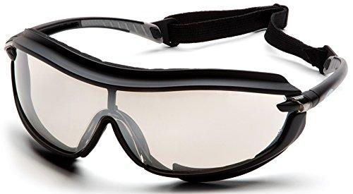 Pyramex XS3 Plus Safety Eyewear IndoorOutdoor Mirror Anti-Fog Lens With Black Frame And Cord