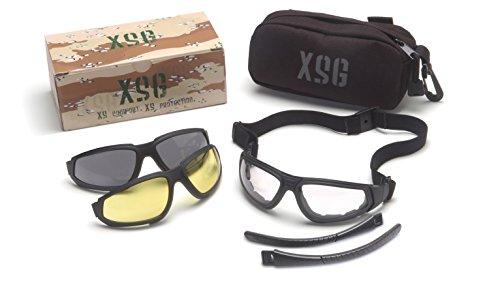 Pyramex Xsg Safety Eyewear Clear Ballistic Gray Ballistic And Amber Ballistic Interchangeable Lenses With Black Frame