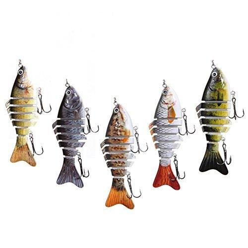 Delight eShop Fishing Sinking Crankbait Lures Popper Minnow Bass Crank Bait Hook Tackle Assortment - Pack of 1
