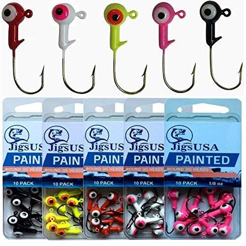 50pcs 18oz Painted Jig Heads Fishing Gear Equipment Accessories Tackle Jig Hooks Freshwater Fishing Lead Lures Bait