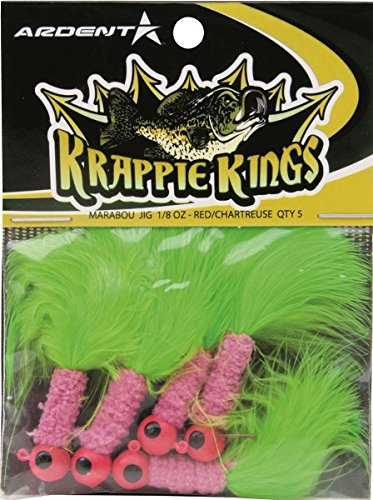 Krappie Kings CrappiePanfish Marabou Jig Head RedChartreuse 18 oz