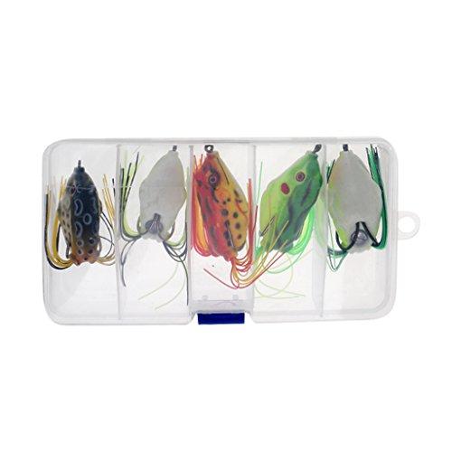 MagiDeal 5 Pcs Topwater Frog Lure Kit Set Lots for Bass Snakehead Freshwater Saltwater Soft Bait Crankbait