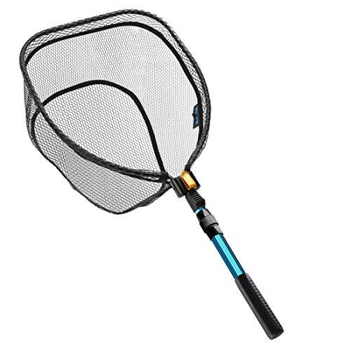 SAN LIKE Fly Fishing Landing Net - Bass Trout net169x 13x118 Foldable Rubber Coating NetSafe Fish Catching or Releasing Net for FreshwaterSaltwater 41in319in